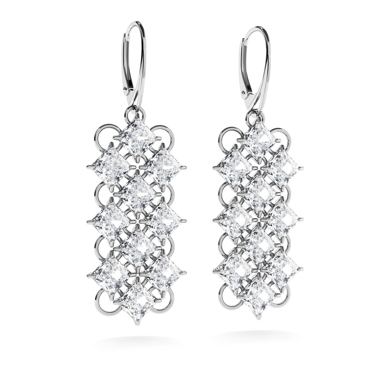 LUXURY EARRINGS WITH ZIRCONS, WEDDING JEWELLERY - MODEL 2