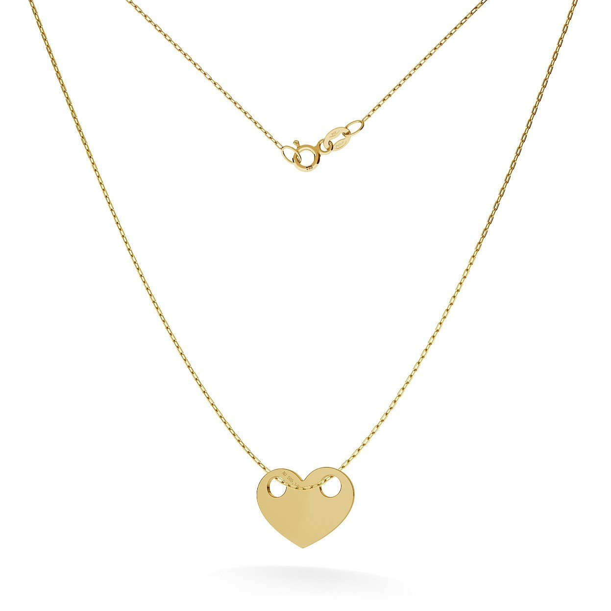 GOLD HEART NECKLACE 14K, MODEL 3