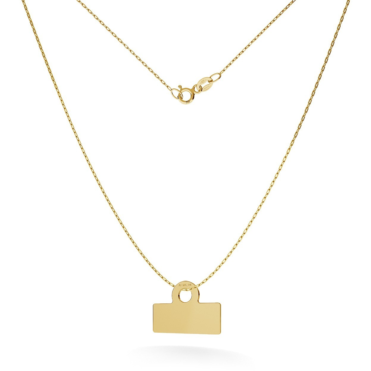 GOLD RECTANGLE NECKLACE 14K, MODEL 17