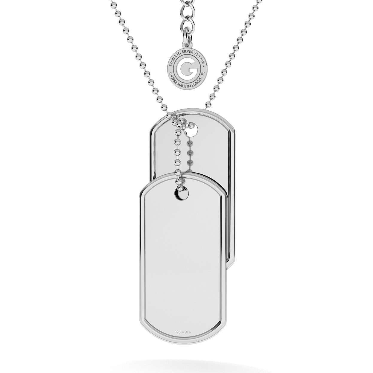 DOG TAG WITH ENGRAVE AND CHAIN SILVER 925, RHODIUM OR GOLD PLATED