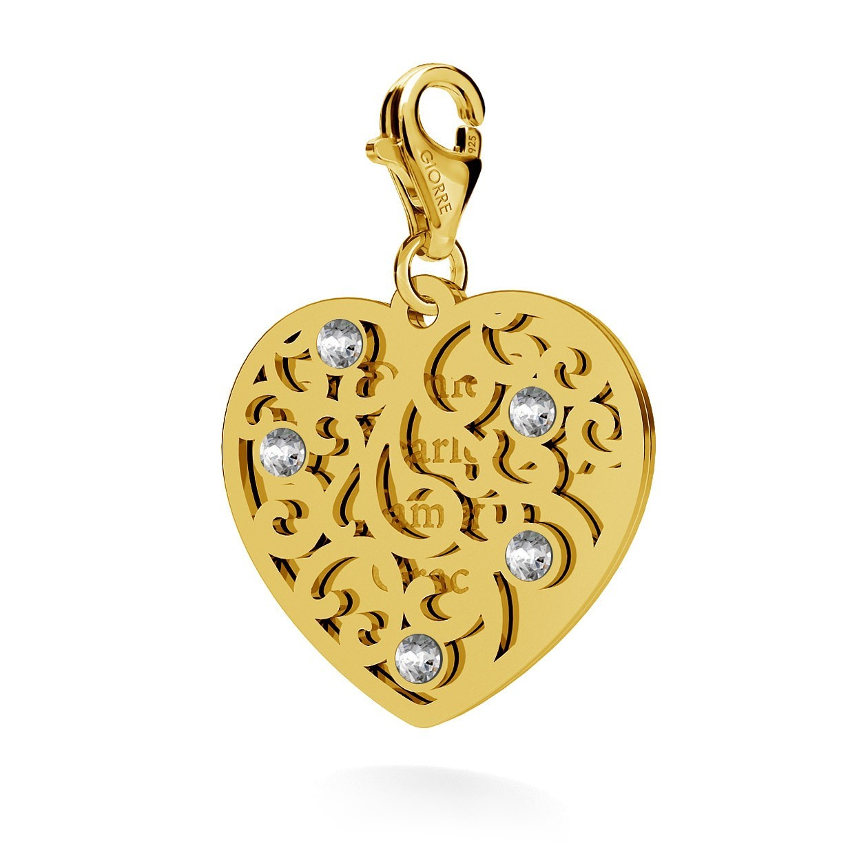 CHARMS 203, TWO HEARTS WITH ENGRAVING, SWAROVSKI