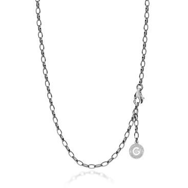 Collier en argent 55-65 cm rhodium noir, fermoir rhodium clair, lien 6x4 mm