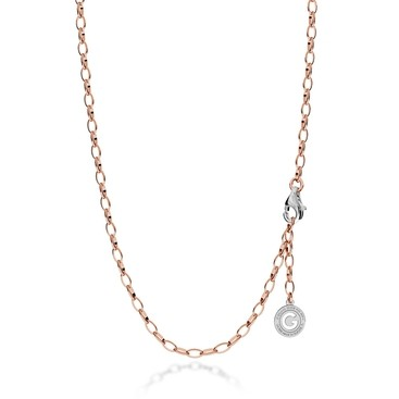 STERLING SILVER NECKLACE 55-65 CM PINK GOLD, LIGHT RHODIUM CLASP, LINK 6X4 MM