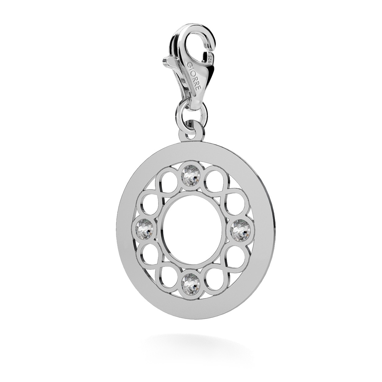 CHARM 78, INFINITY WHEEL, SWAROVSKI 2038 SS 6, STERLING SILVER (925) RHODIUM OR GOLD PLATED