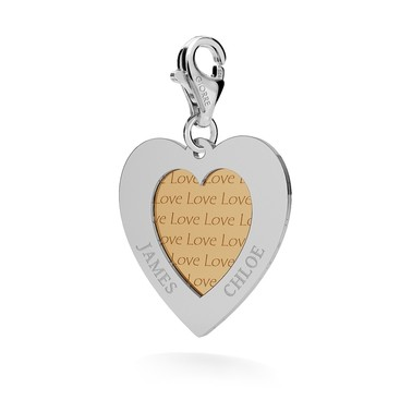 CHARM 80, HEART WITH FRAME SILVER 925, RHODIUM OR GOLD PLATED