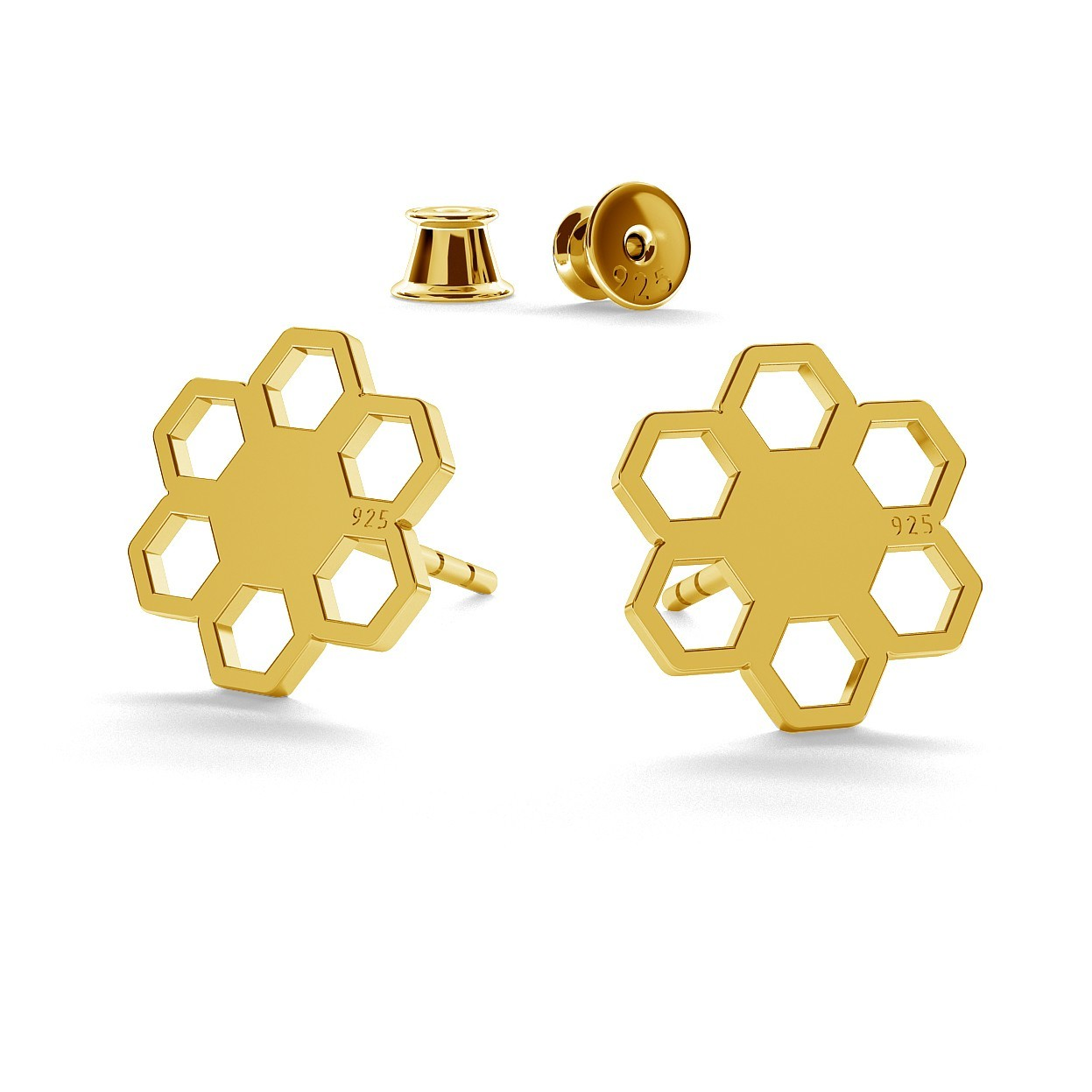 Honeycomb post earrings with engravaving