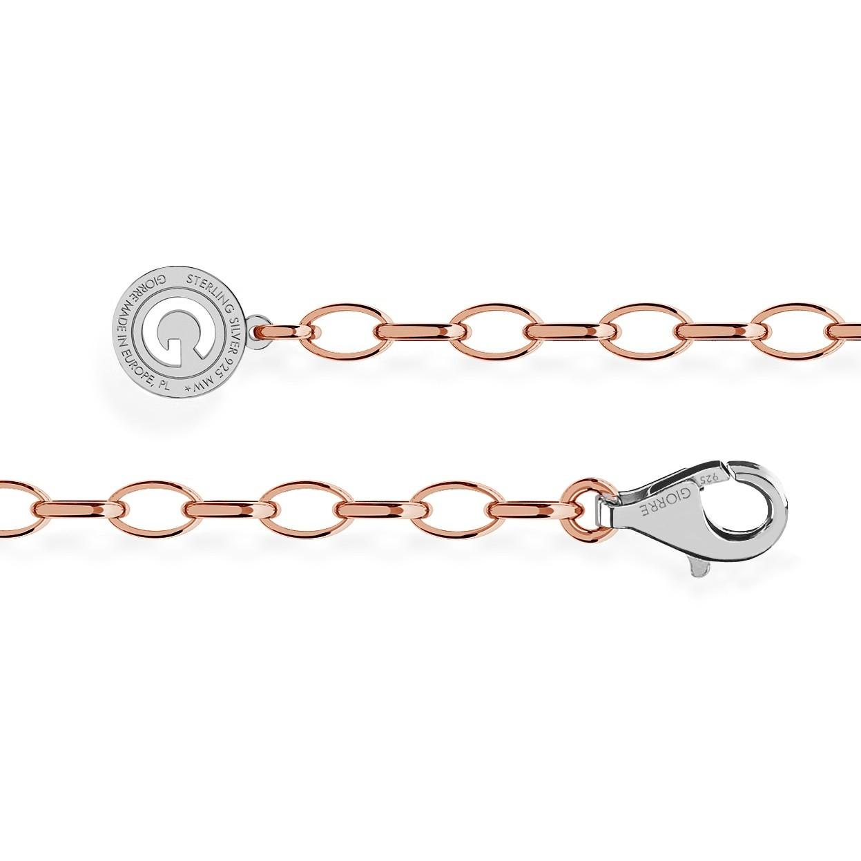 STERLING SILVER BRACELET 16-24 CM PINK GOLD, LIGHT RHODIUM CLASP, LINK 6X4 MM