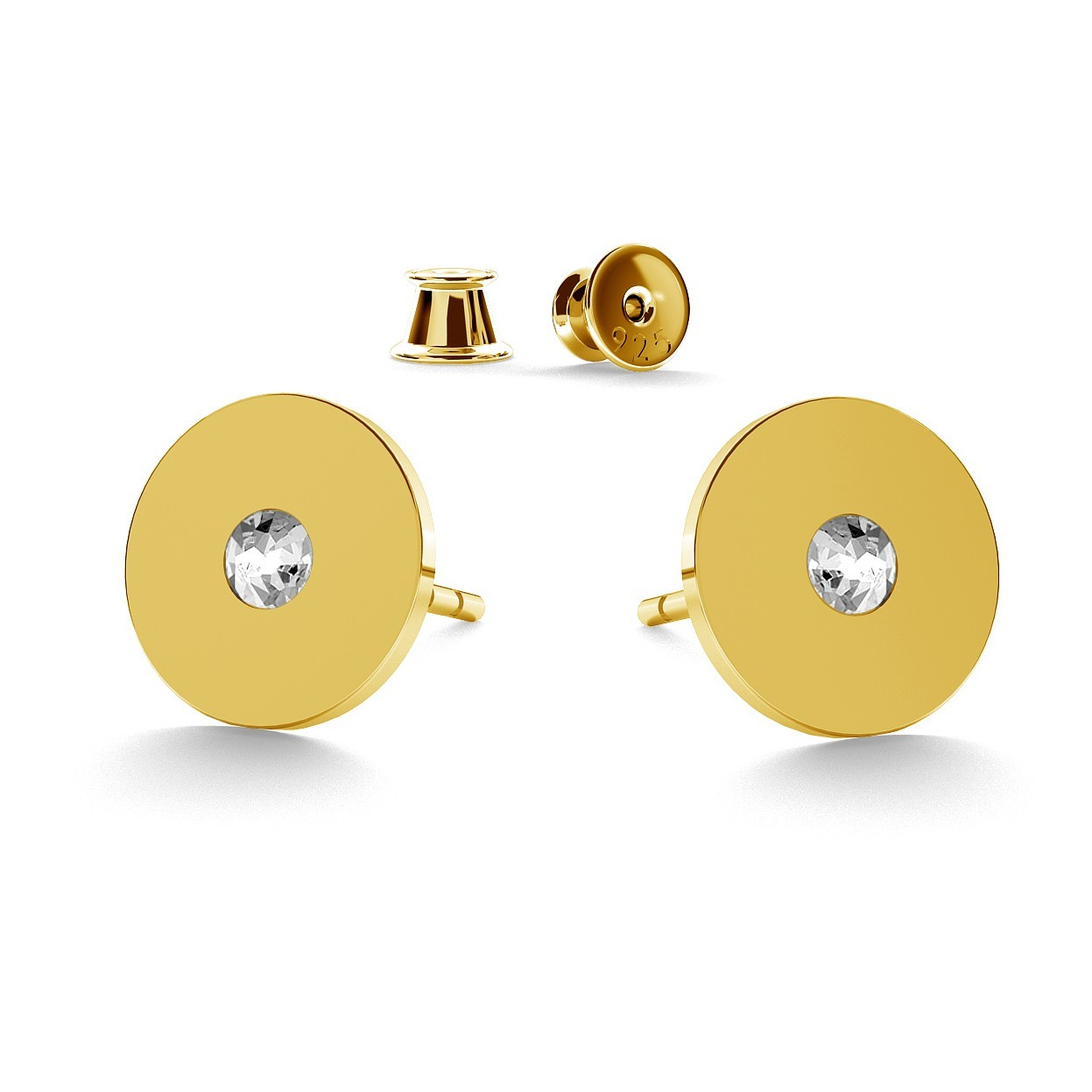ROUND POST EARRINGS WITH SWAROVSKI CRYSTALS