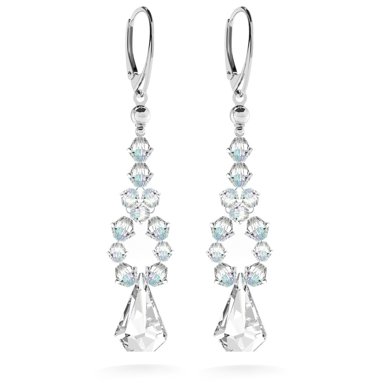 Earrings with swarovski crystals, wedding jewellery - model 1