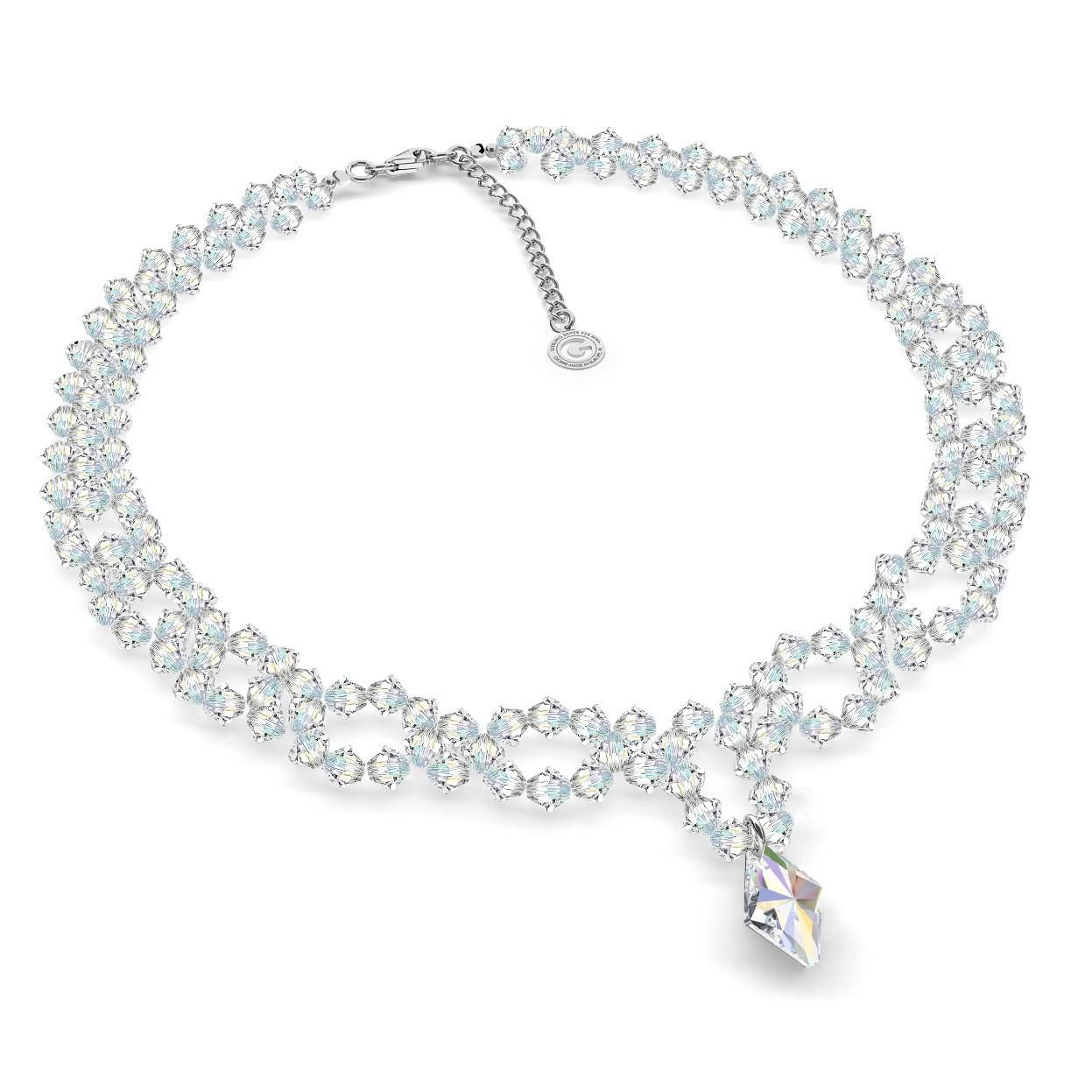 Srebrny ślubny naszyjnik kryształy swarovski 925