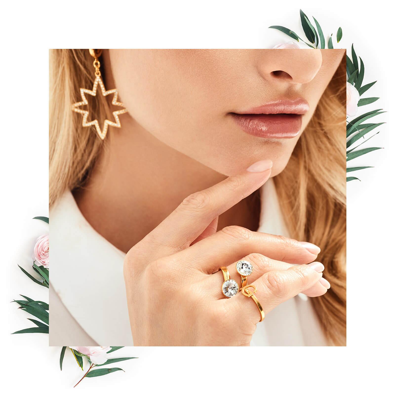 Srebrny pierścionek swarovski rivoli