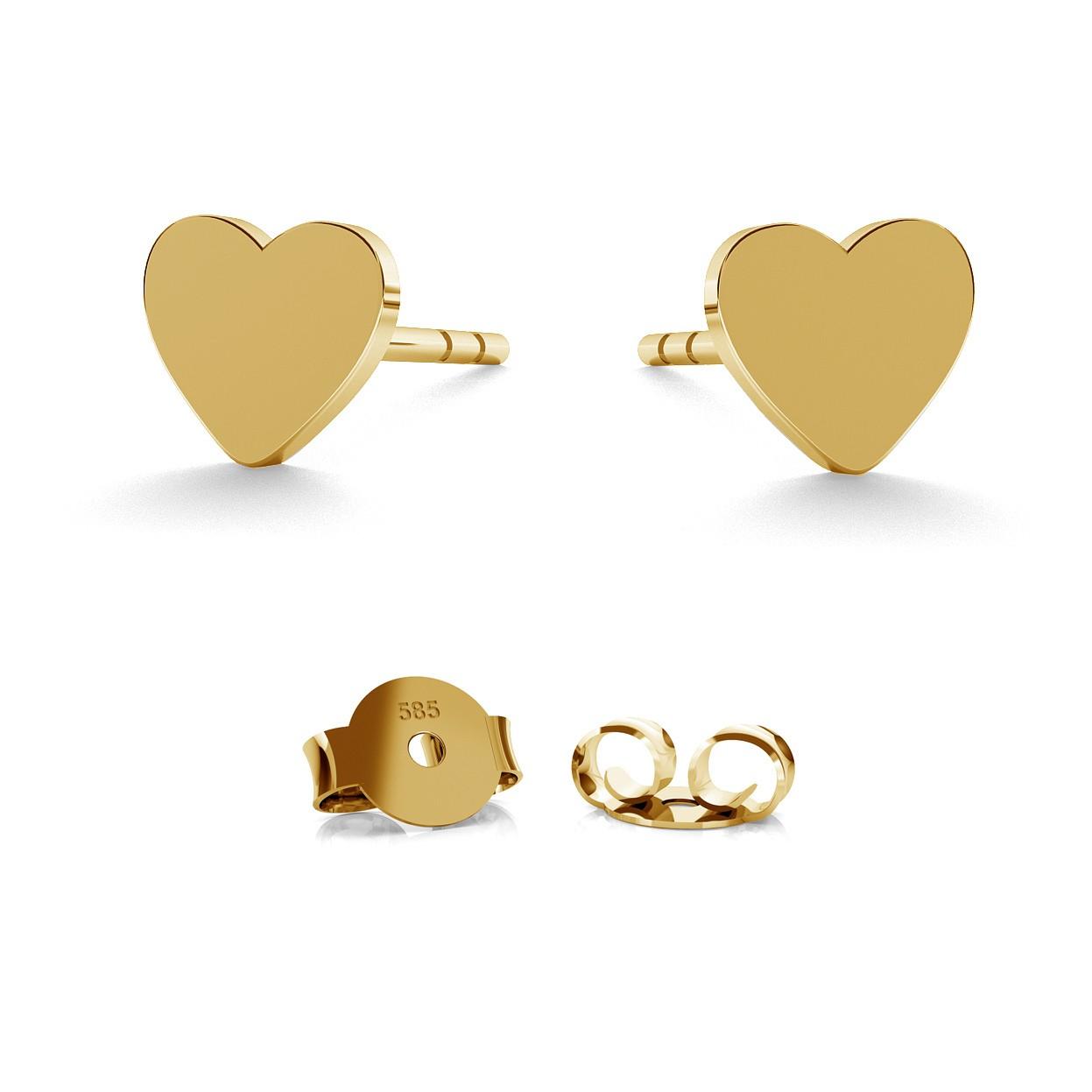 Pendientes de oro corazón, oro 585, 14k