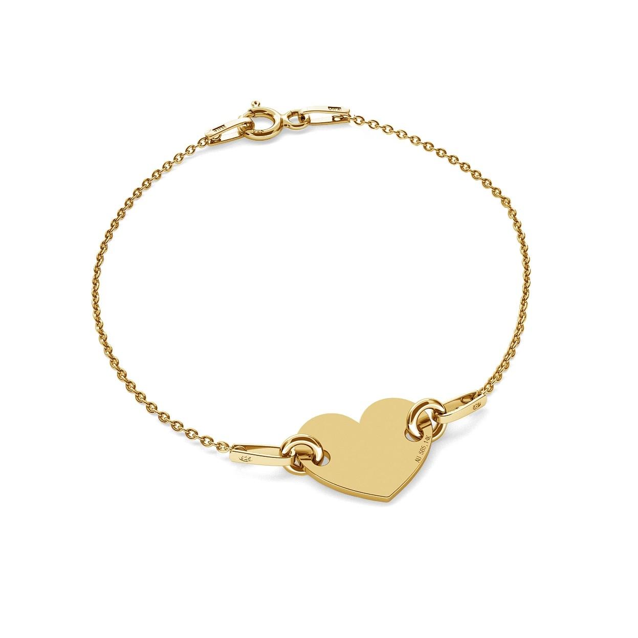 Gold heart bracelet 14k, model 462