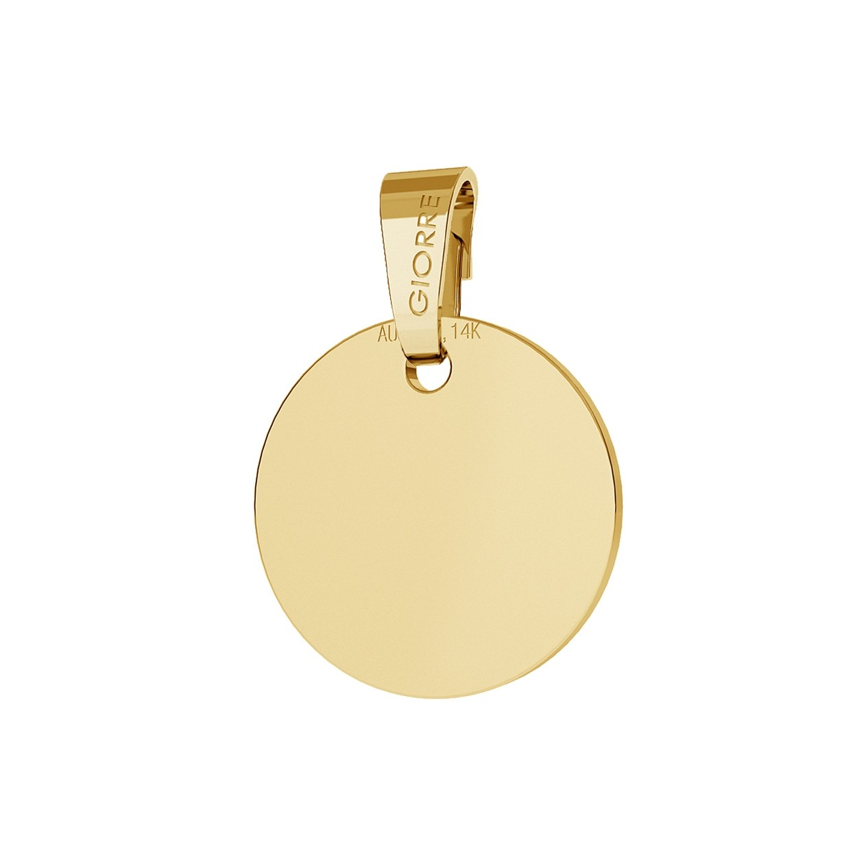 Gold round pendant with enraveing, 585, giorre