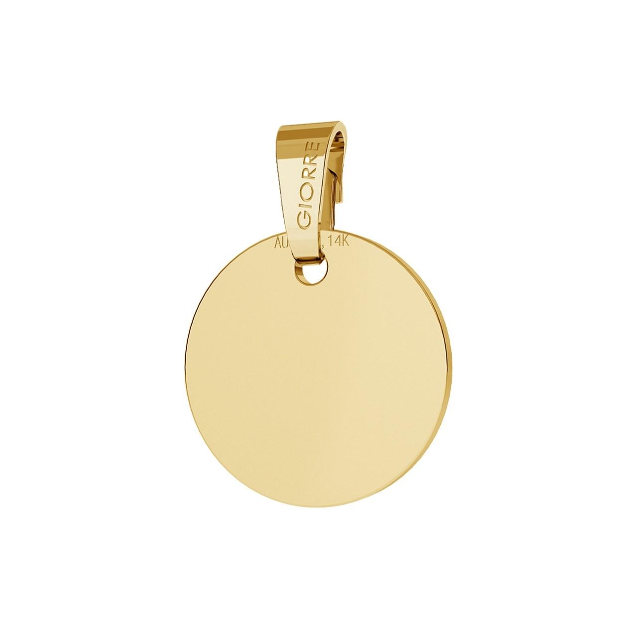 Oro redondo colgante grabado 585, giorre