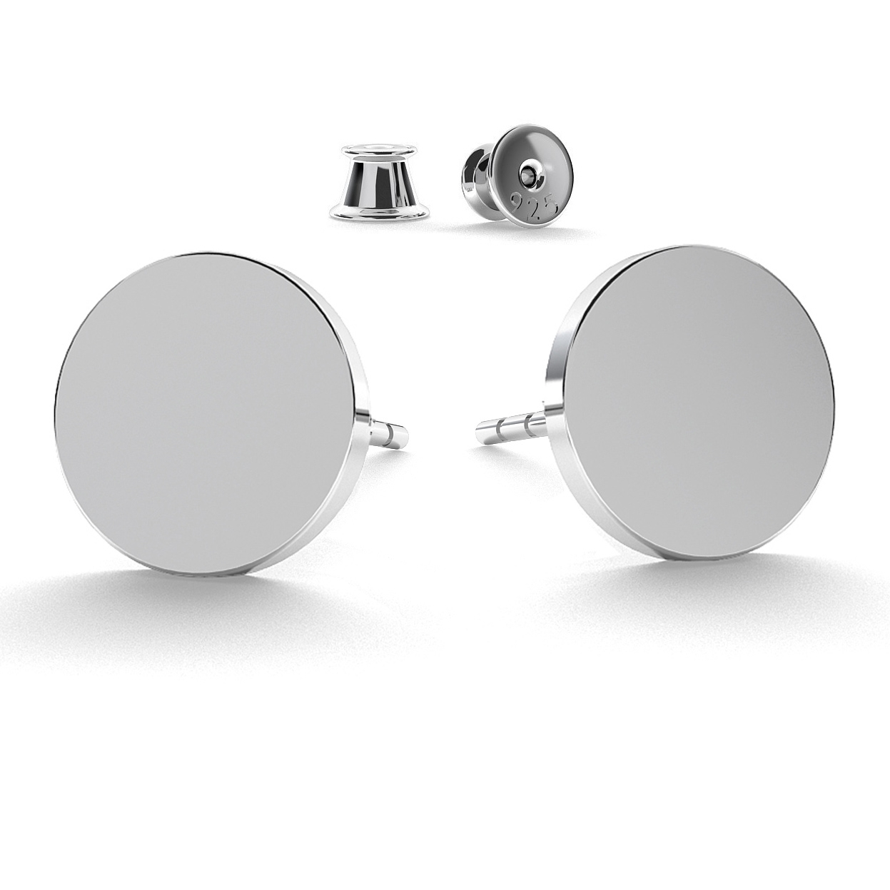 Round flat 11 mm earrings
