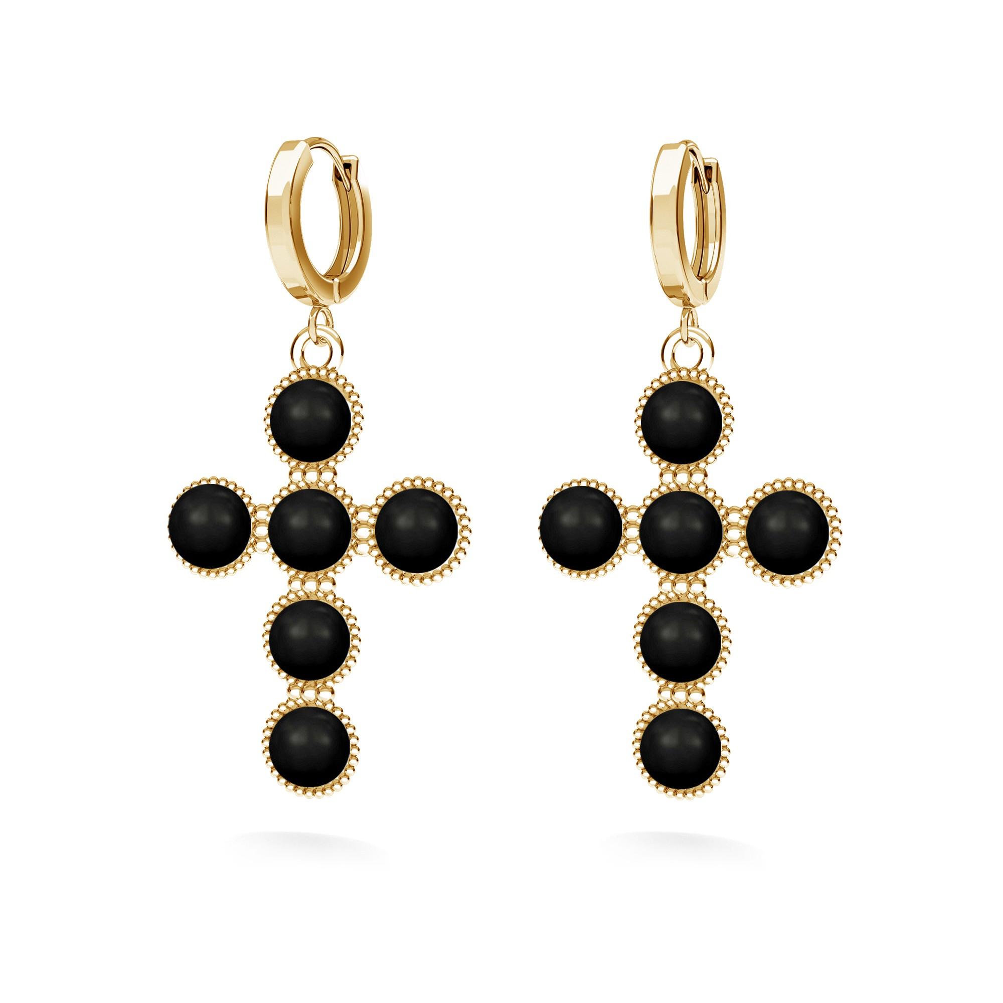 Cross earrings with Swarovski pearls, silver 925 & swarovski