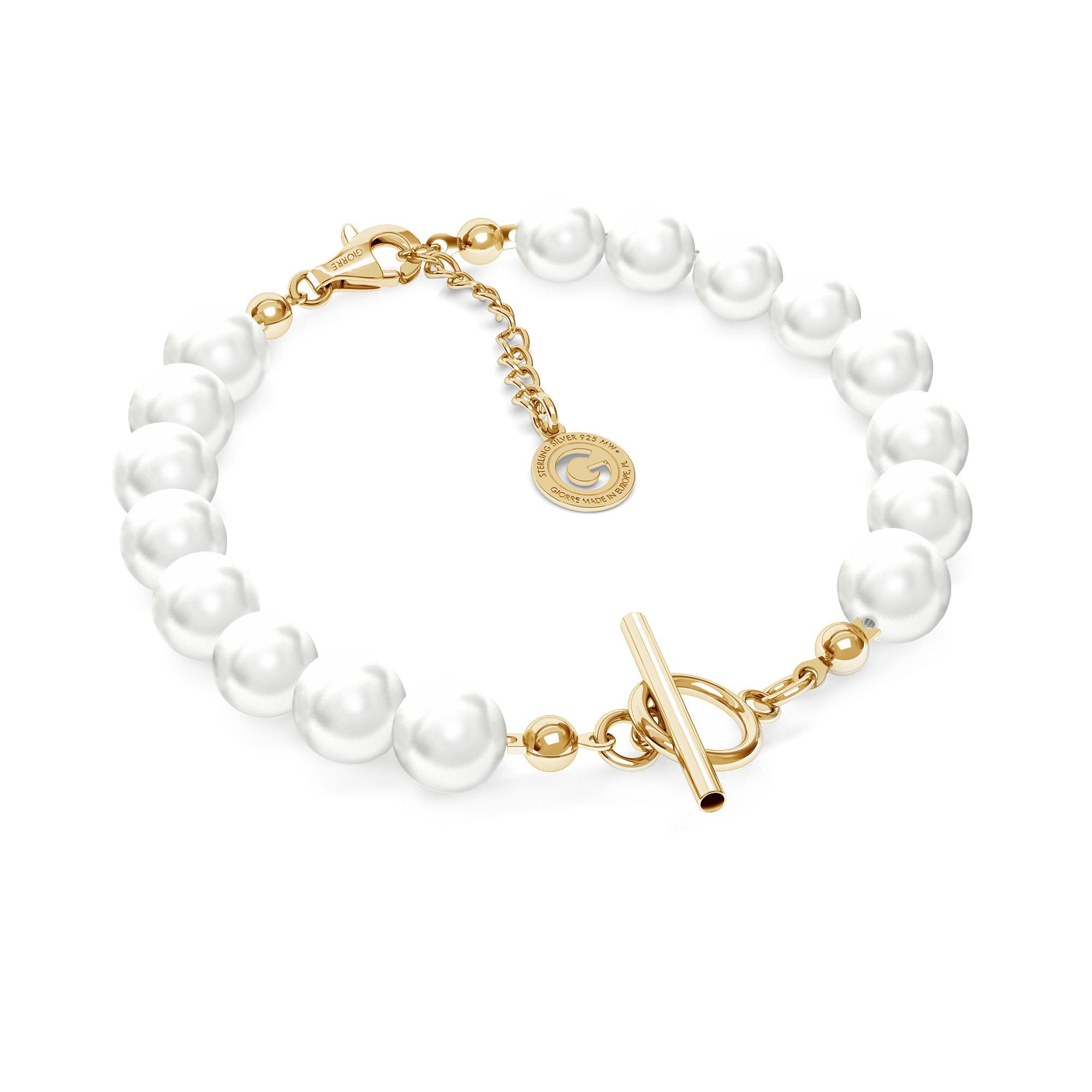 Pulsera de perlas, plata 925