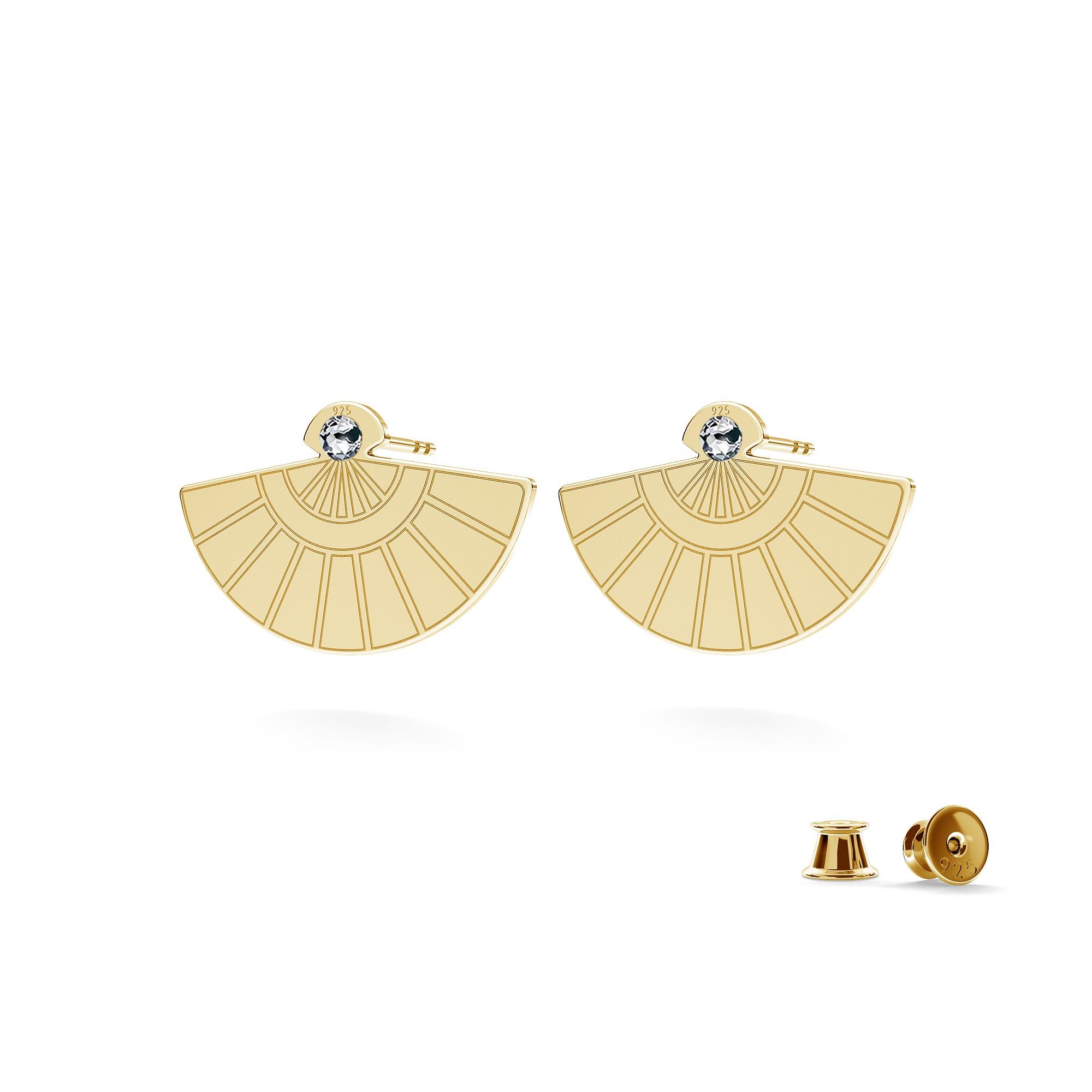 Hand fan earrings with Swarovski Crystal, MON DÉFI sterling silver 925