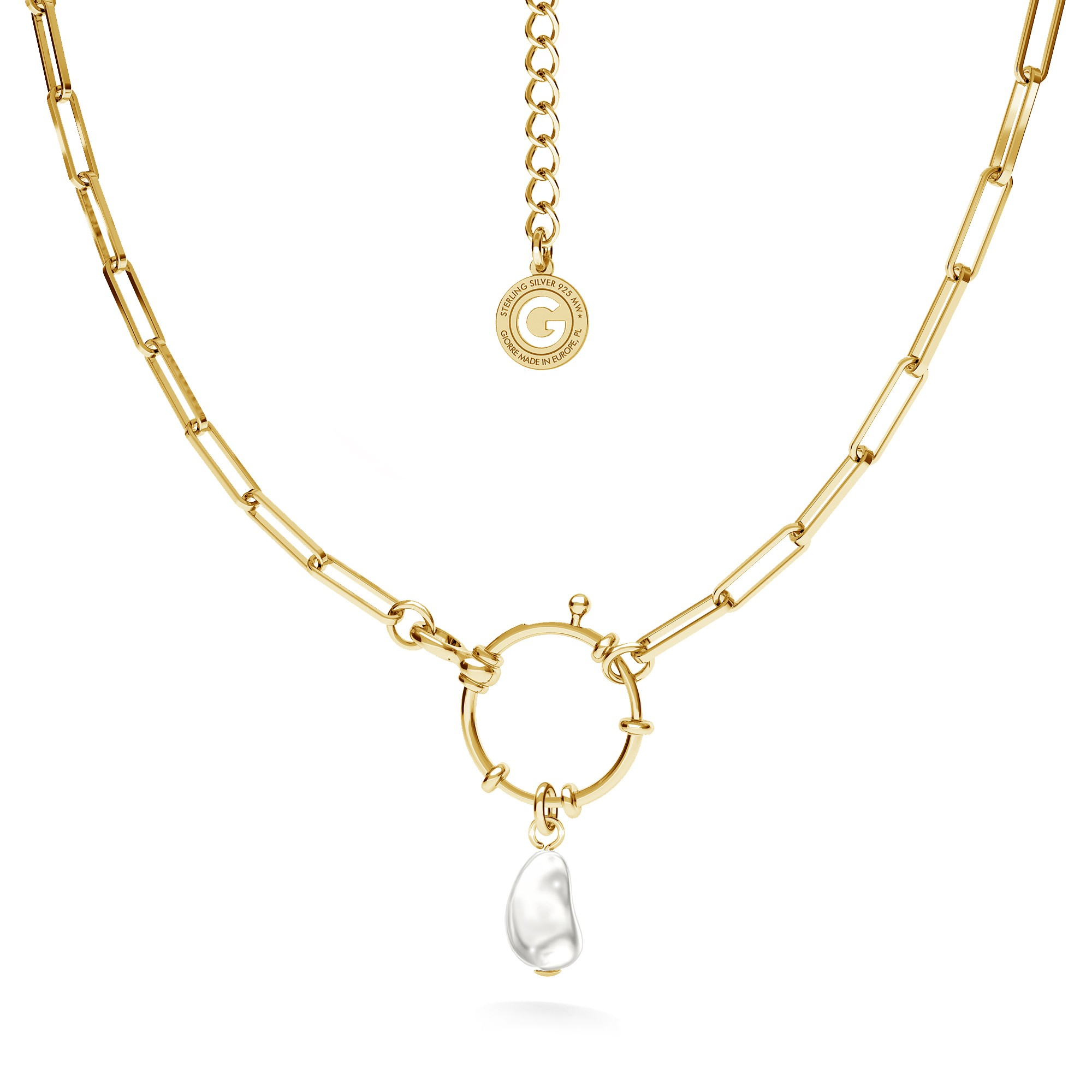 Necklace with irregular pearl, sterling silver 925