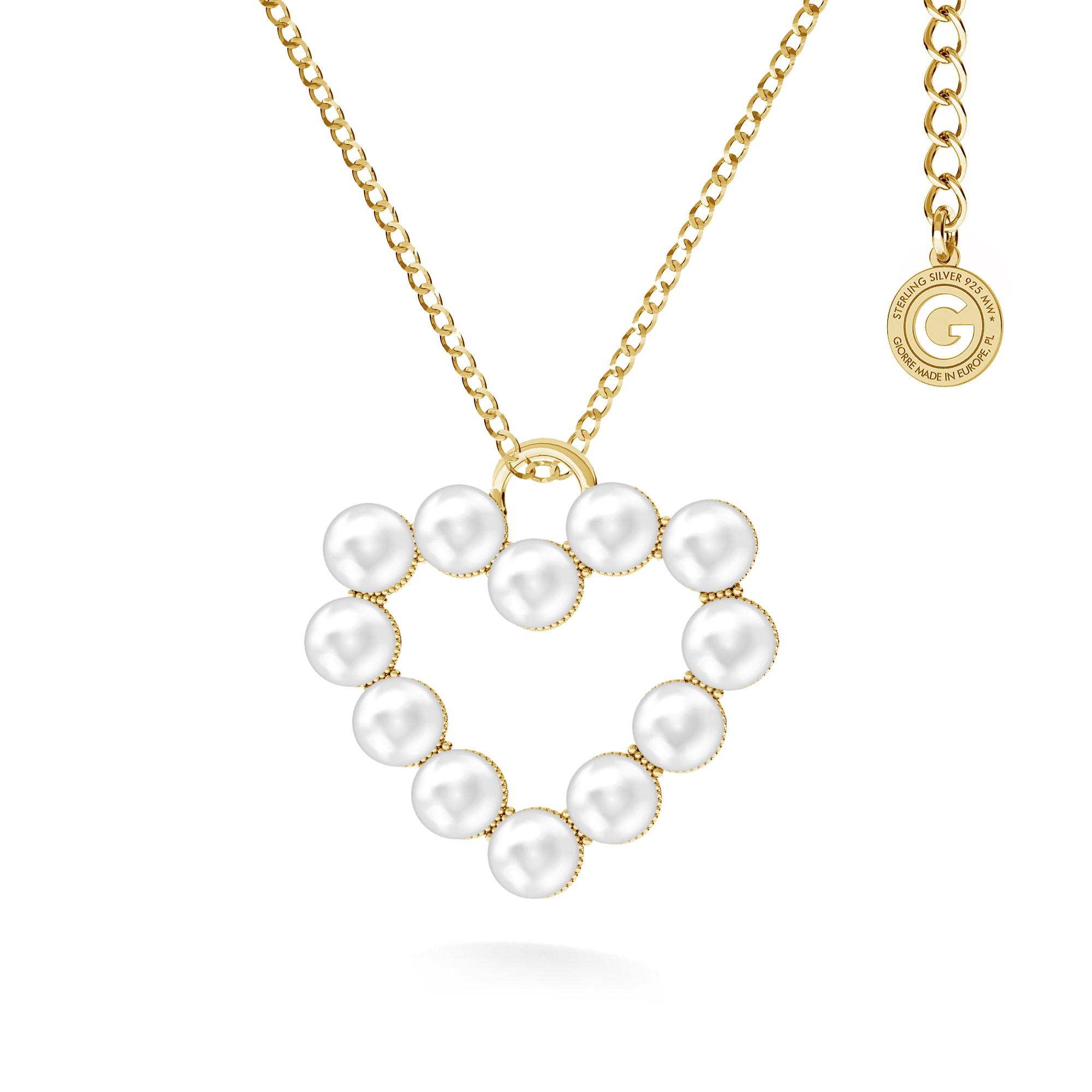 Collar con corazón de perlas de swarovski, plata 925