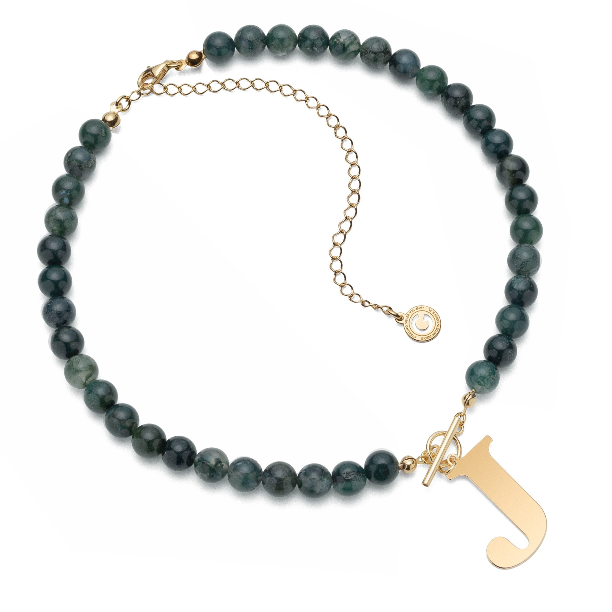 Natural stones moss agate choker with letter, sterling silver 925