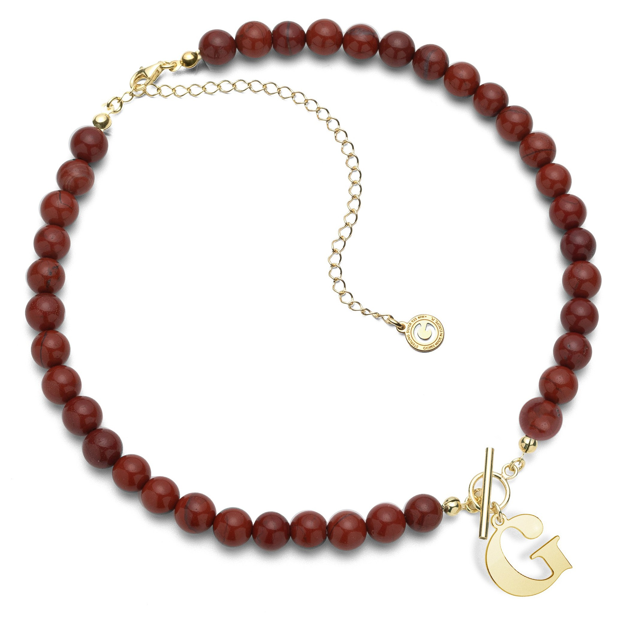 Red natural stones choker with letter, Silver 925