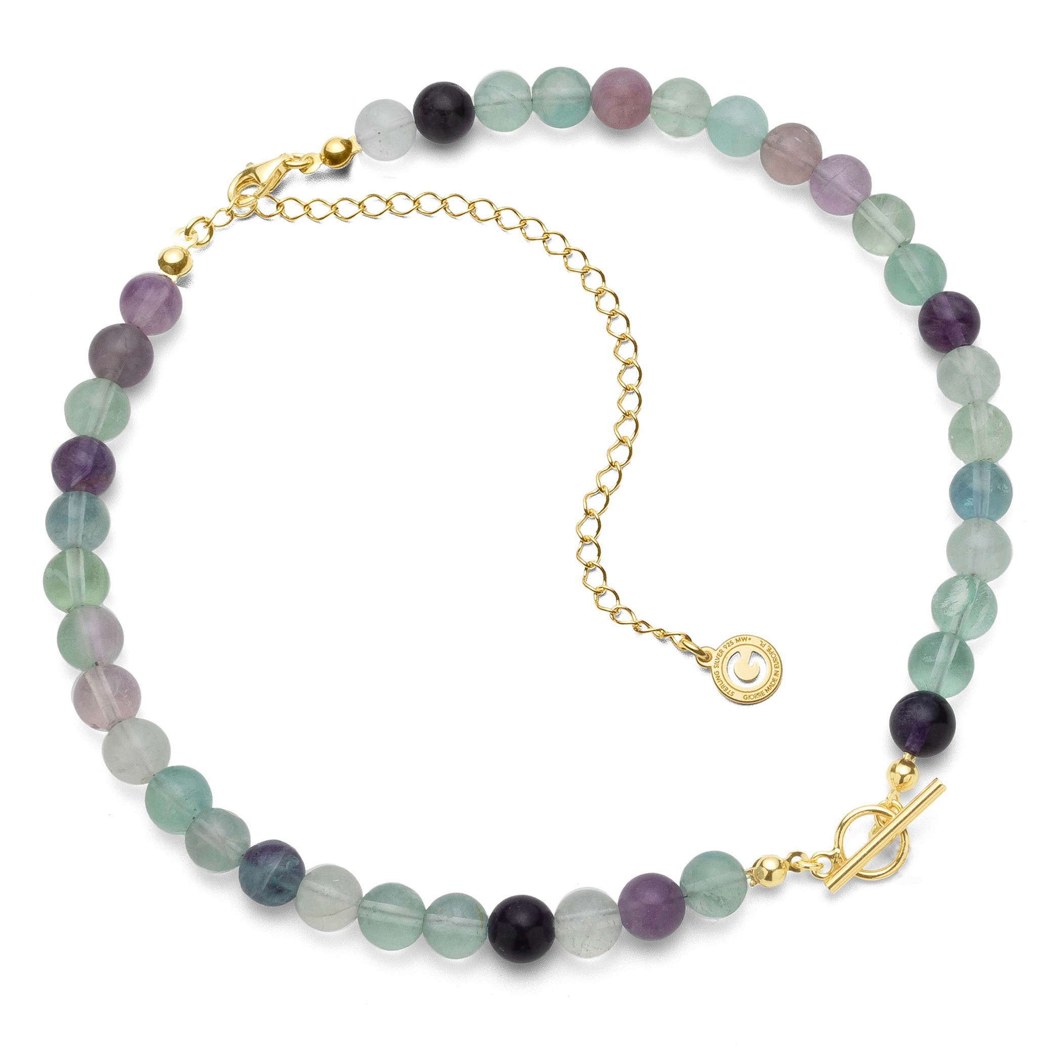 Choker with fluorite, charms base, Silver 925