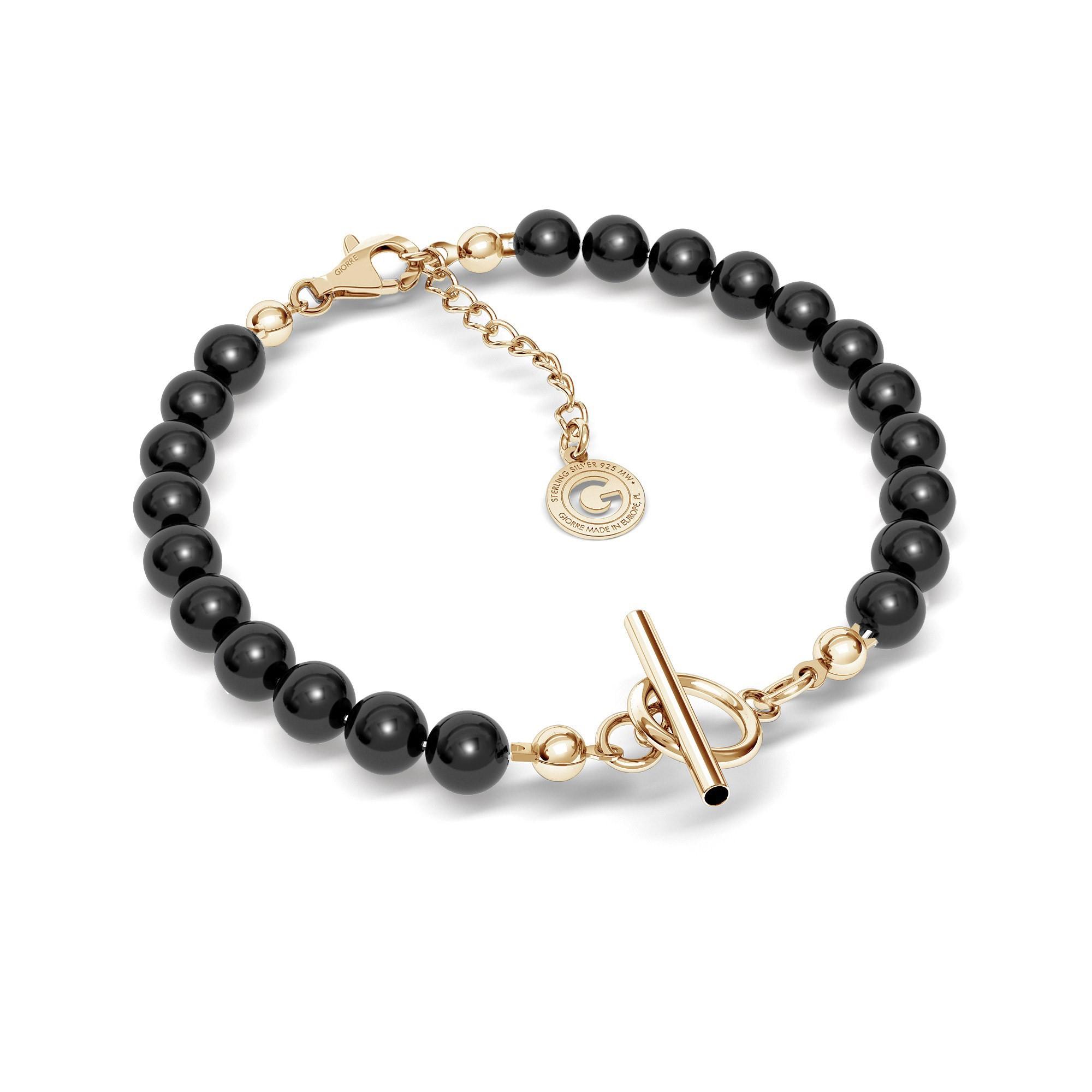 Swarovski black pearls bracelet charms base, Silver 925