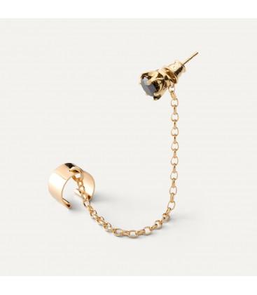 Chain earrings 6mm black diamond sterling silver 925