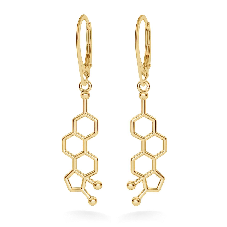 Estrogen molecular earrings chemical formula sterling silver