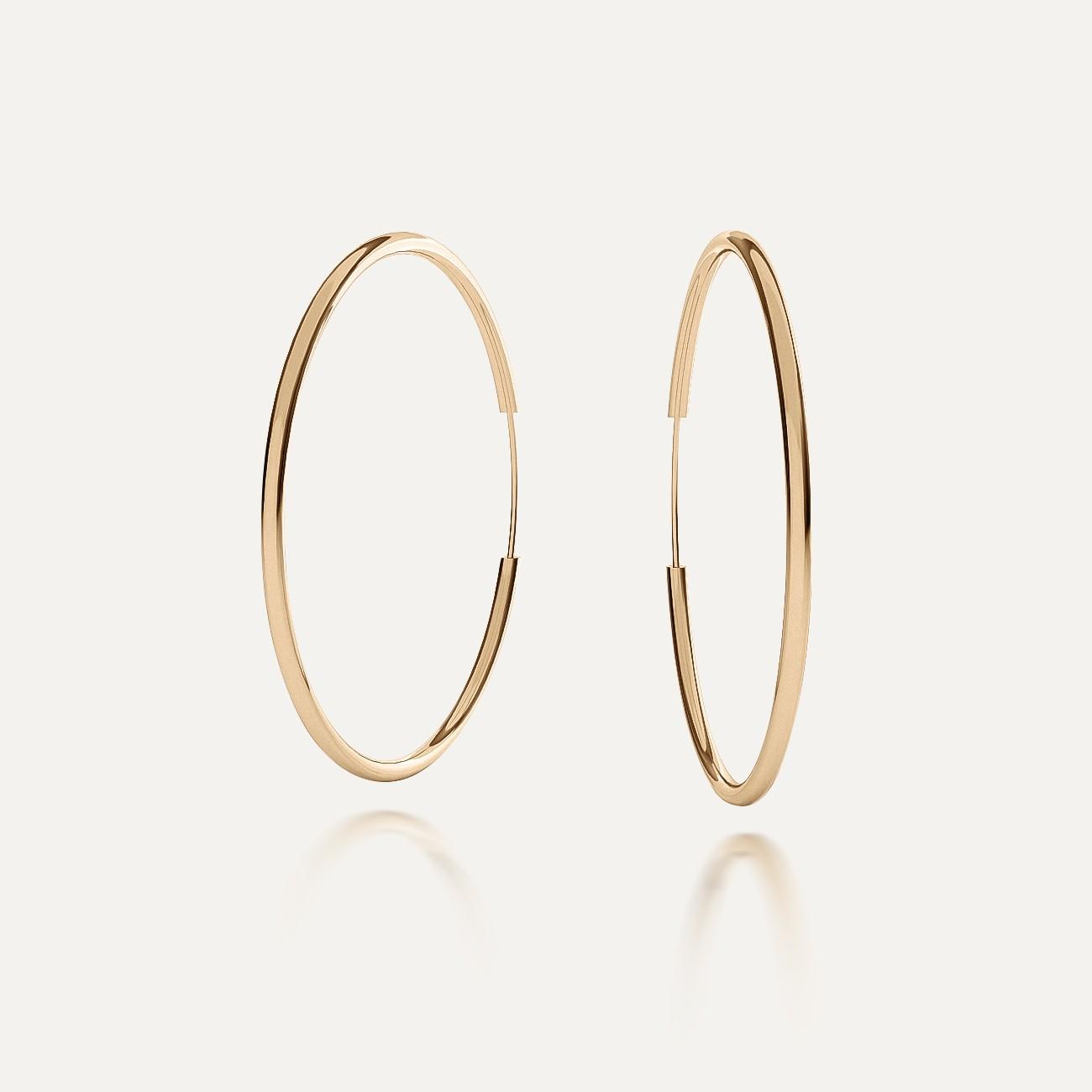 Round hoop earrings 4,0 cm, charm base