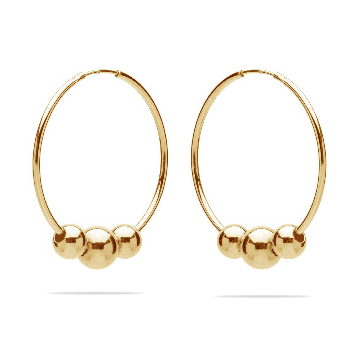 Hoop earrings with balls 925