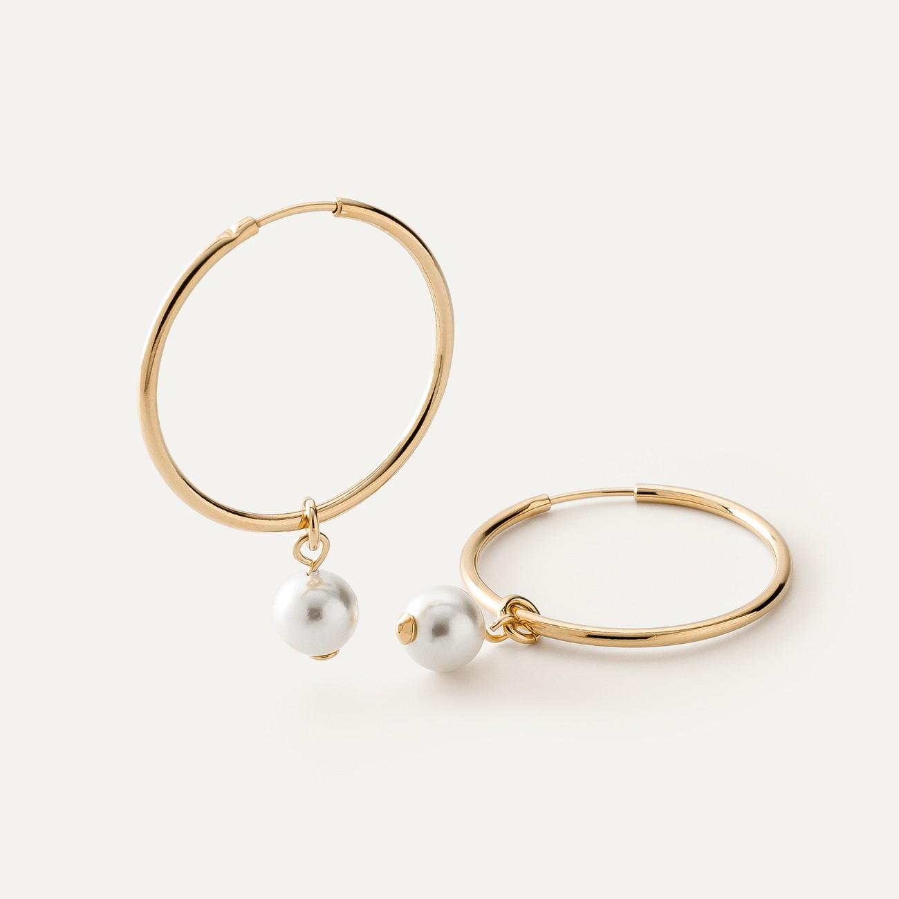 Pendientes circulares de plata con perlas blancas Swarovski