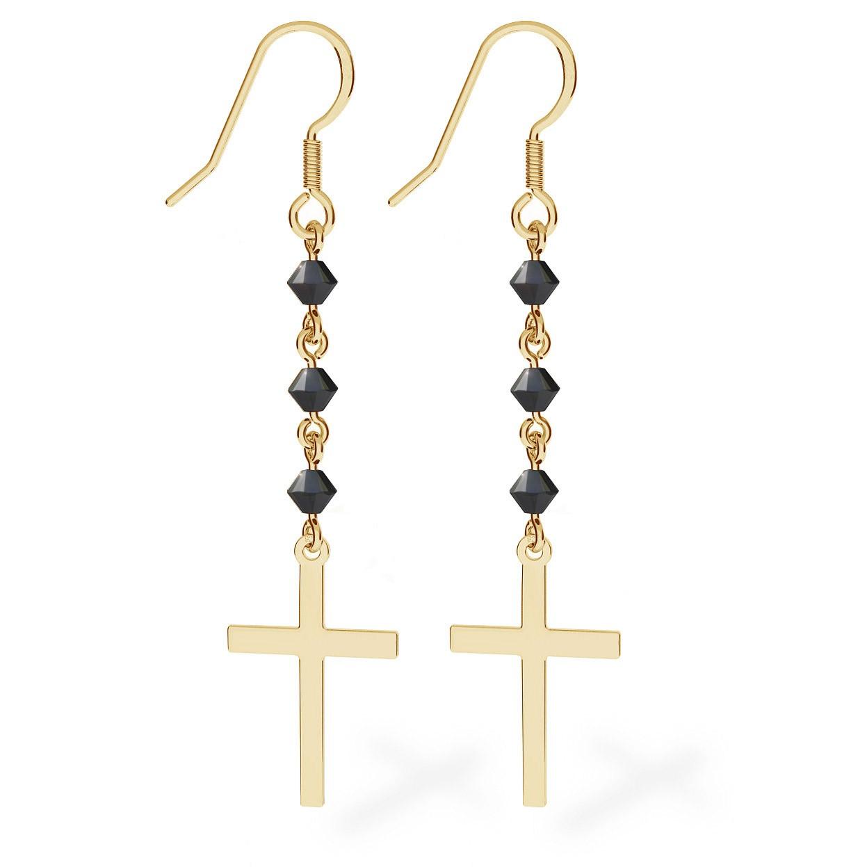 Silver earrings with cross, Swarovski