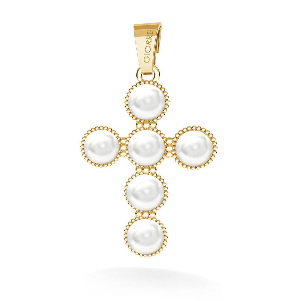 Cross pendant with swarovski pearls, silver 925 & swarovski