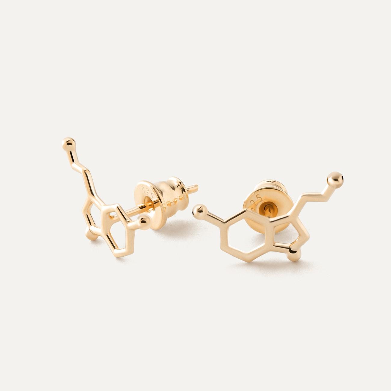 Earrings serotonin chemical formula, sterling silver