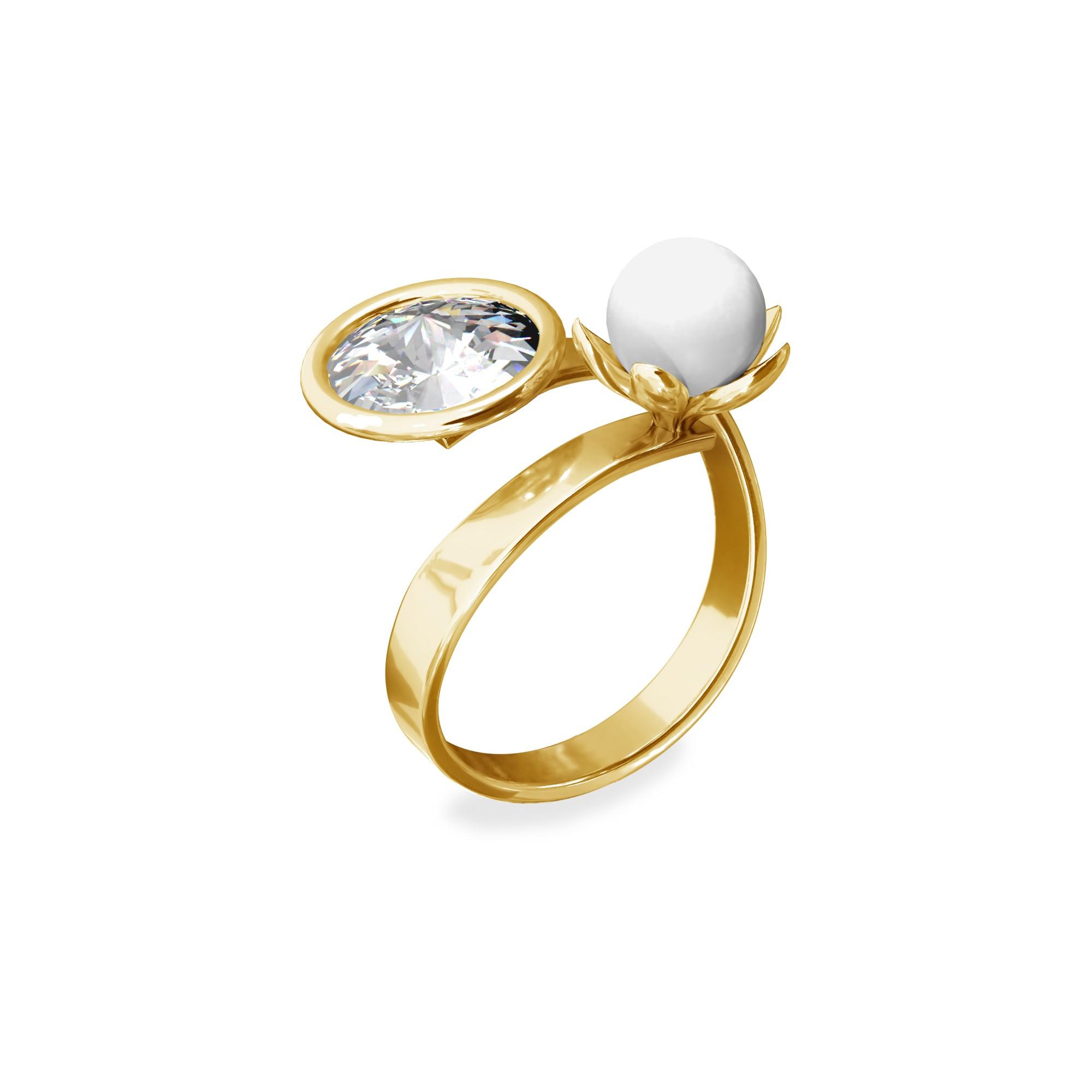 Ring with Swarvoski crystal & pearl, sterling silver 925