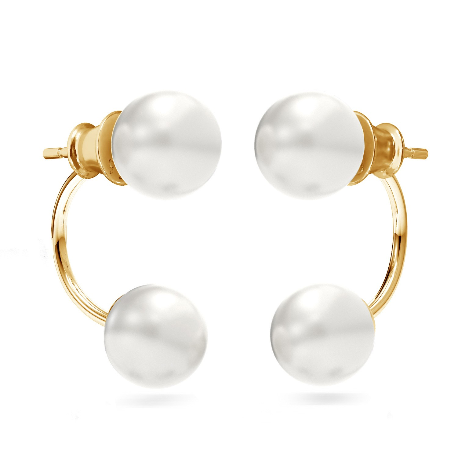 Front & back earrings with Swarovski pearls 925