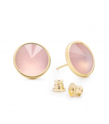 Earrings with round natural stone quartz, 925
