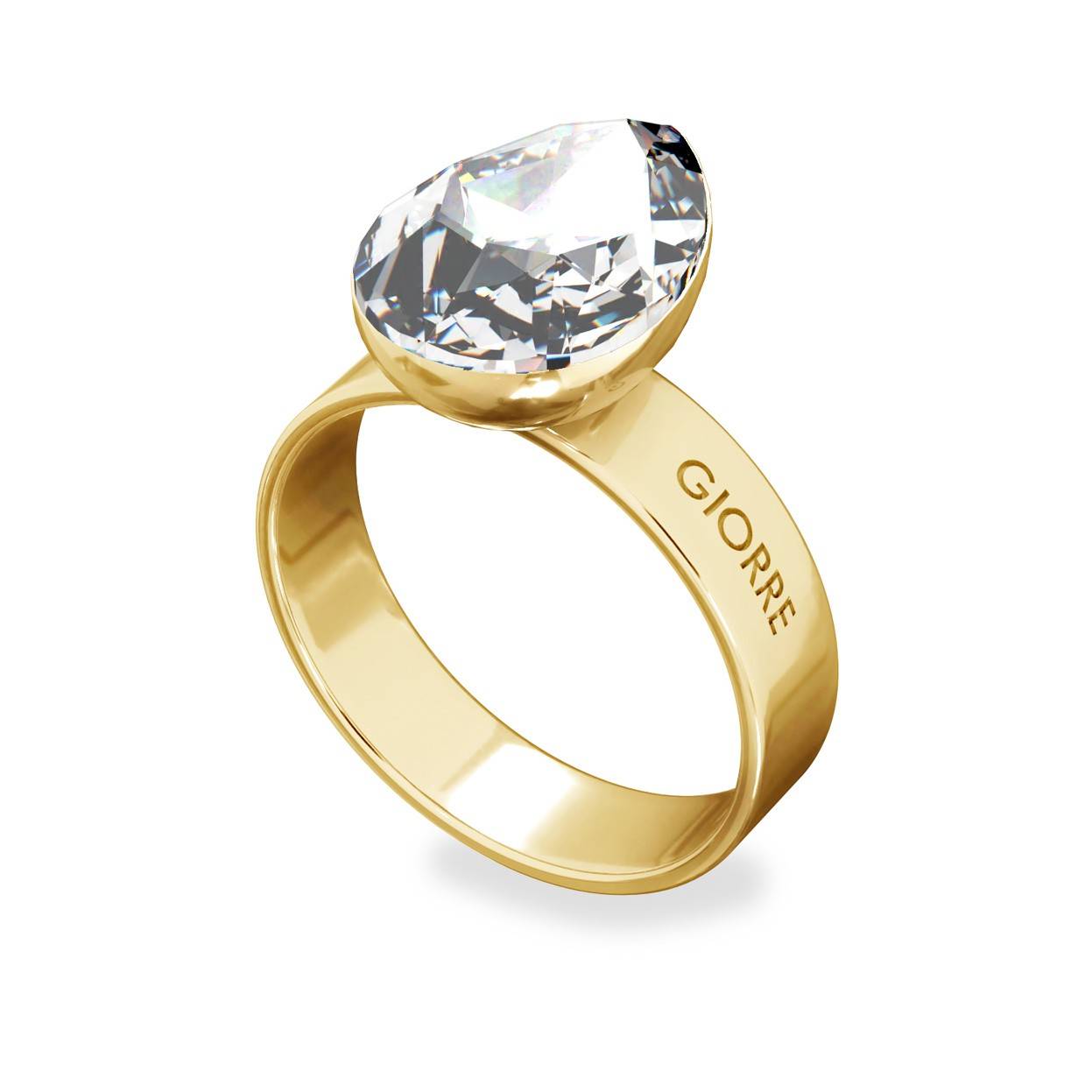 Crystal pearl ring, sterling silver 925