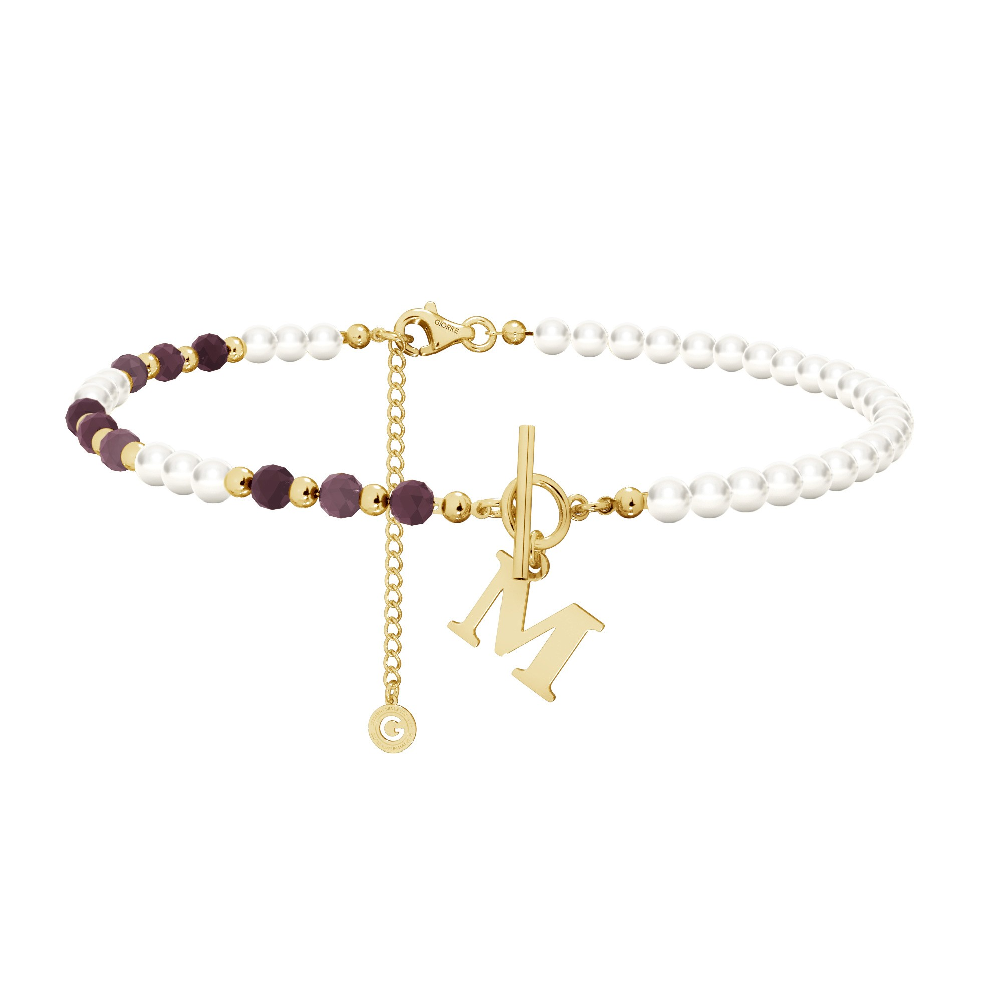 Ruby pearl choker with your letter, sterling silver 925
