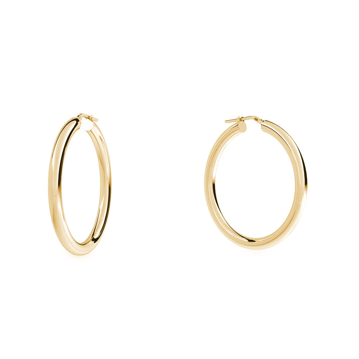 Round hoop earrings 5 cm with clasp, silver 925