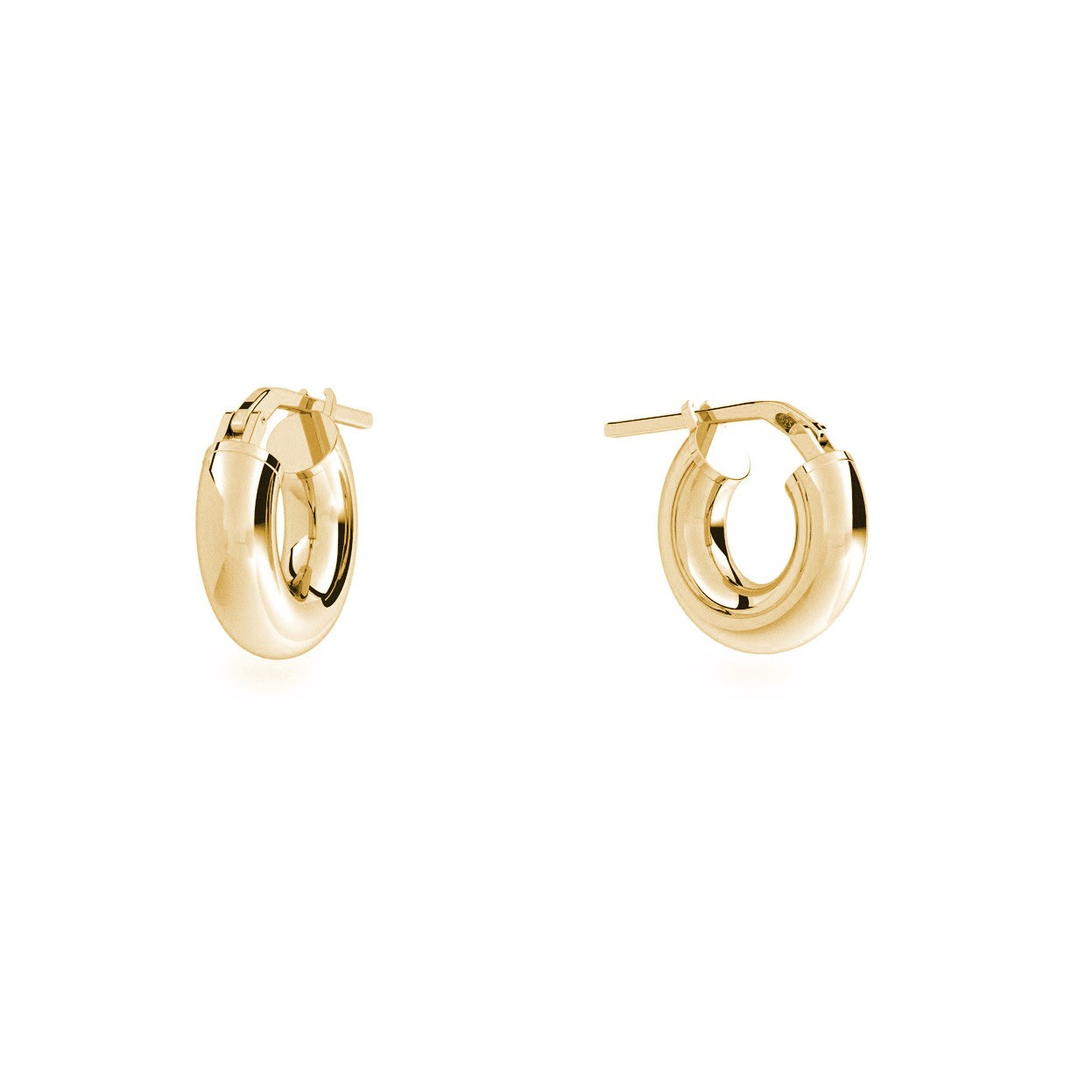 Round hoop earrings 2 cm with clasp, silver 925
