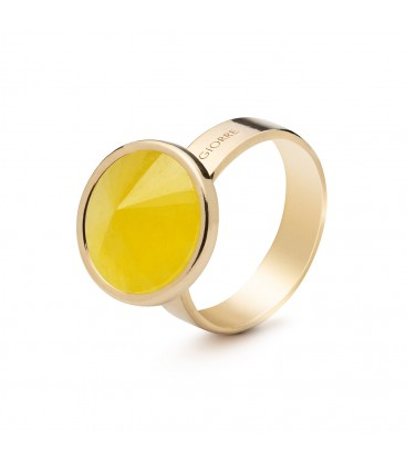 Ring with round natural stone chalcedon, 925